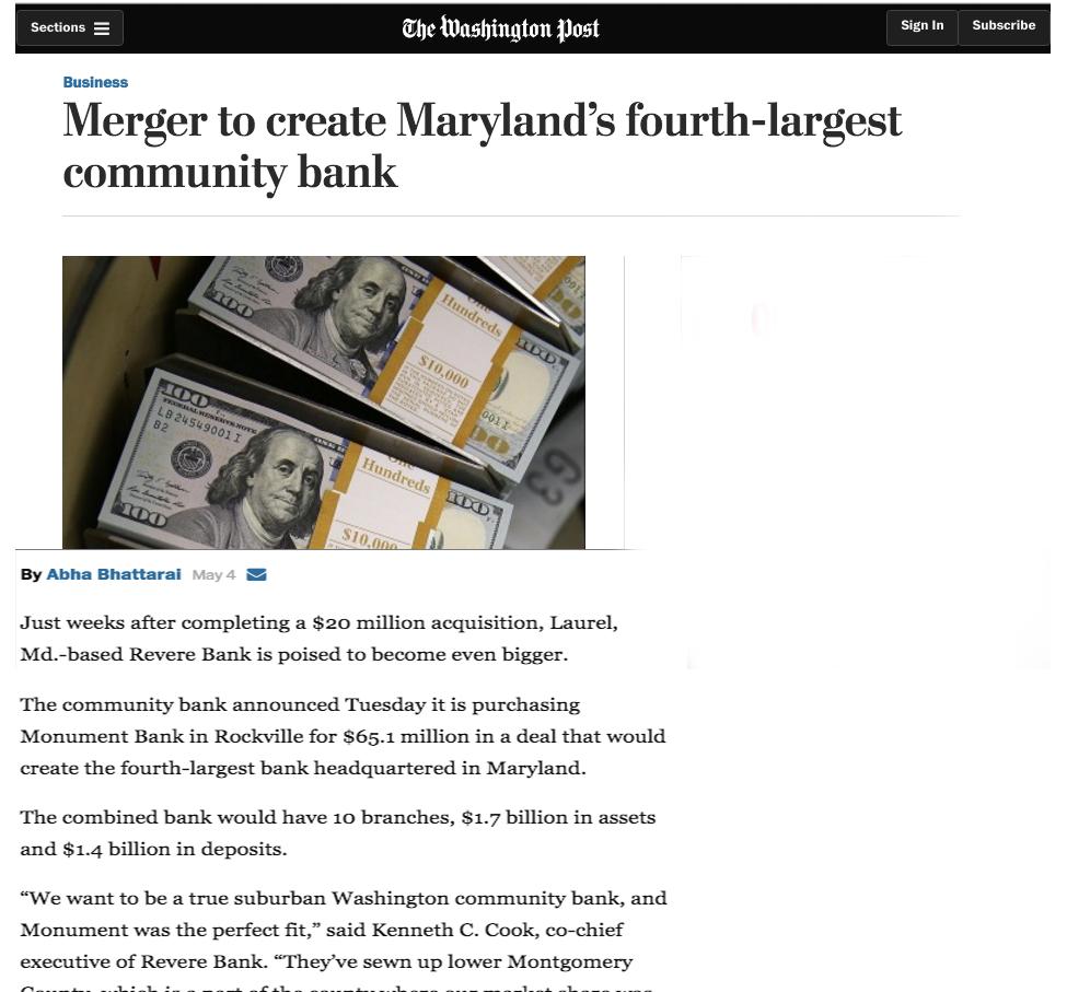 Revere Bank in Washington Post